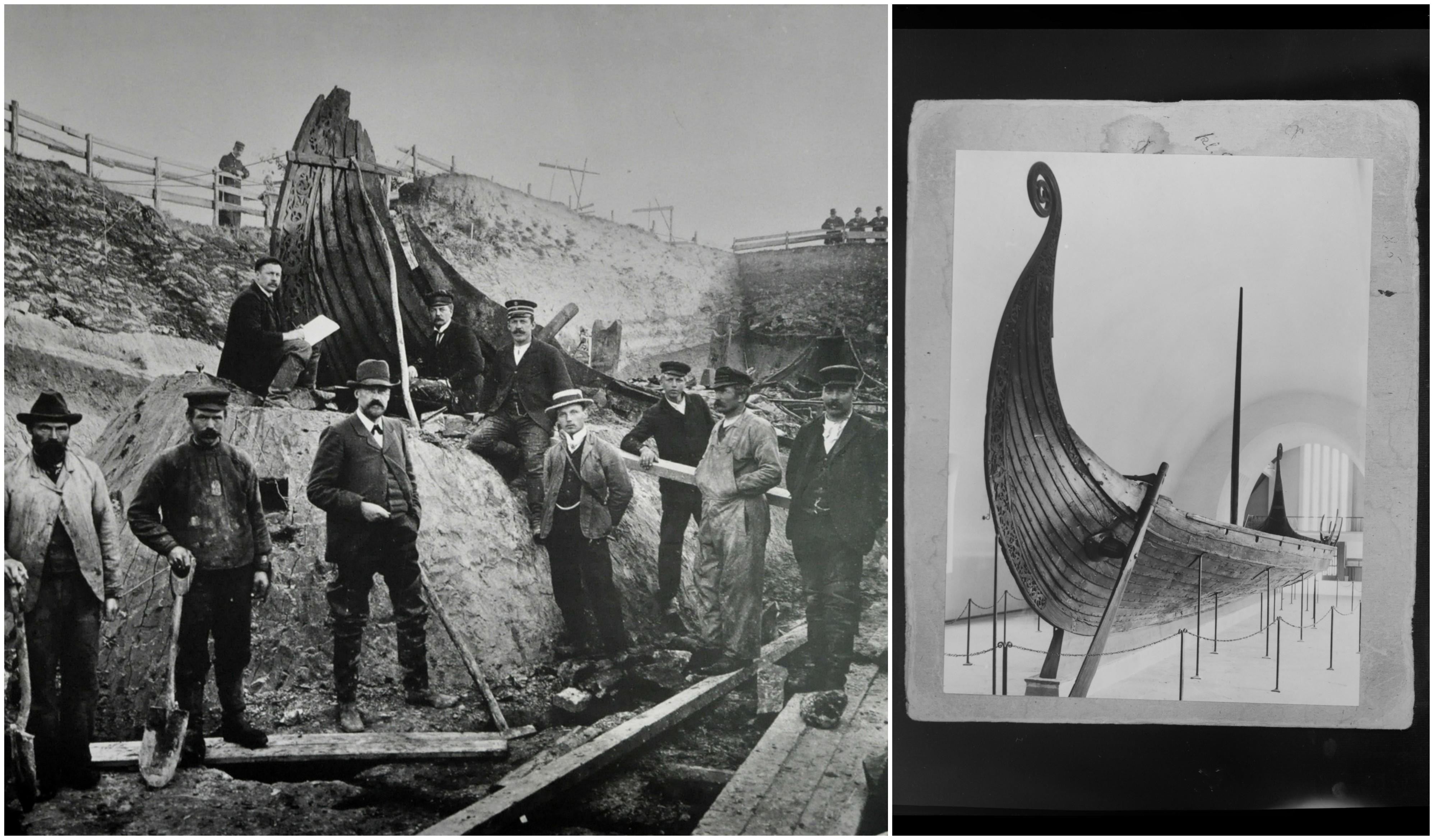 Osebergskibet, udgravning tv og det istandsatte skib th.